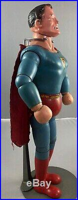 13.5 Antique American Composition & Wood Superman Doll! Rare! Beautiful! 17770