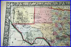 1866 Rare Beautiful Antique Mitchell Atlas Map Of Texas-handcolored