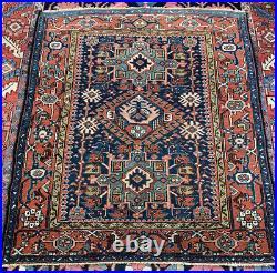 1920s Antique Serapi Heriz Tribal Oriental Rug 4x4.5 Beautiful Bidjar Rare Sq