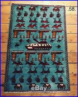 58 Beautifully handmade Afghan war rug Rare design, Great quality 62x90cm