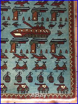 67 Beautifully Made Afghan War Rug, Very Rare Design, 61x88cm