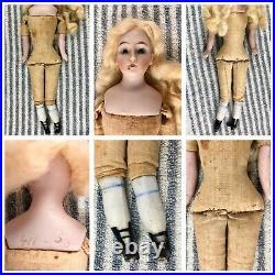 8 Antique German Bisque Shoulder Head Dress Me Doll! Rare! Beautiful! 18083