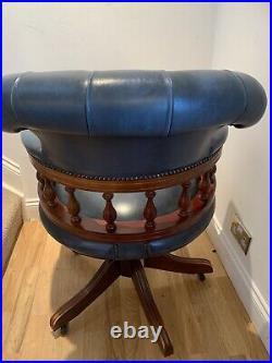 ANTIQUE BLUE LEATHER CAPTAINS CHAIR Rare Colour, Vintage, Beautiful