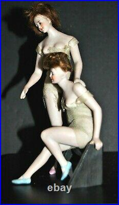 ANTIQUE German Bisque Bathing Beauty DOUBLE FIGURE PAIR Galluba & Hoffman RARE