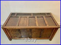 A Rare & Beautiful 100 Year Old Antique Oak Coffer. Made Circa 1910 C