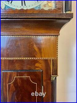A Rare & Beautiful 180 Year Old Antique Mahogany Inlaid Grandfather Clock. 1850C