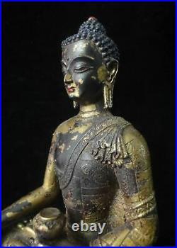 Ancient Rare Chinese Beautiful Gilt Bronze Shakyamuni Buddha Statue Sculpture