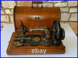 Antique 1886 Singer 12 Hand Crank Sewing Machine w Bentwood Case. RARE BEAUTIFUL
