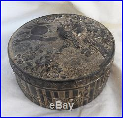 Antique Asahi Shoten Japanese Silvered Box c 1930s Meiji Period A Rare Beauty