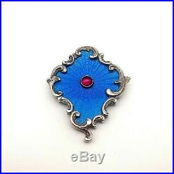 Antique Beautiful Faberge Sterling Silver, Enamel Brooch With Box. Extremely Rare