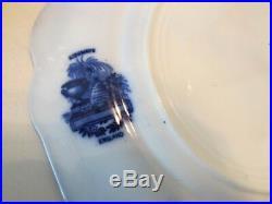 Antique Beautiful Flow Blue RIDGEWAYS England RARE Tom TURKEY Dinner Plate Set