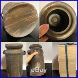 Antique Bizen ware floral vase Japan retro popular rare beautiful EMS F/S