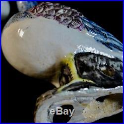 Antique Chinese Export Porcelain Birds Pigeon Pair 19th Century Rare Beautiful