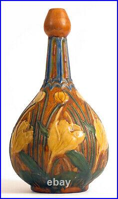 Antique Floral Roseville Weller Experimental Vase Large Beautiful Stunning Rare