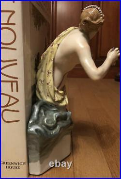 Antique Meissen RARE Figural Bookend Semi Nude Woman Walks In Ocean Waves Beauty