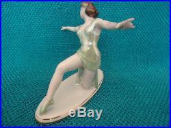 Antique Old Rare Beautiful Art Deco Dancer Woman Lady Porcelain Figure Figurine
