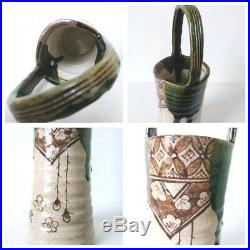 Antique Oribe flower vase pottery Japan retro popular rare beautiful EMS F/S