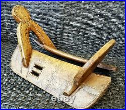 Antique Original & Rare Transylvanian Primitive Decorated Wood Saddle Beautiful