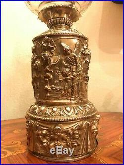 Antique Rare Beautiful French Bronze Kerosene Oil Lamp