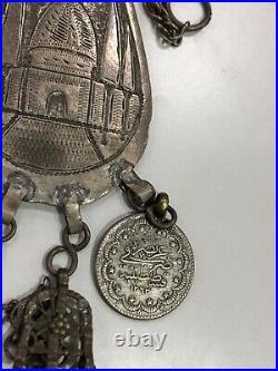 Antique Rare Islamic Beautiful Ottoman Silver High Caliber Necklace Mosque 1871