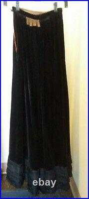 Antique Victorian BEAUTIFUL Rare Black Lush Velvet Brocade Bustle Skirt Mourning
