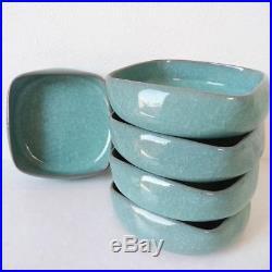 Antique celadon pottery dish 5 pcs Japan retro popular rare beautiful EMS F/S