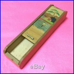 Antique pencil box wooden crafts Japan retro popular rare beautiful EMS F/S