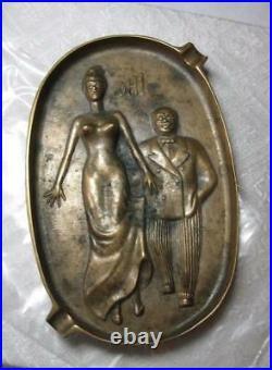 Art Deco Enamel Bathing Beauty Pinup Girl Match Case 1920s RARE Original Antique