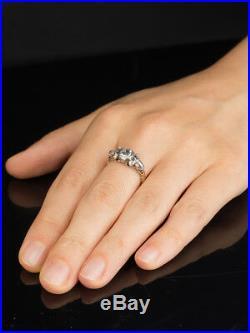 BEAUTIFUL ANTIQUE GENUINE GEORGIAN RARE 1.71 Ct DIAMOND THREE STONE RING