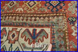 BEAUTIFUL RARE WHITE GROUND 1850'S CAUCASIAN RUG kAZAK BORCHALOU GENDJE