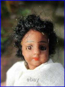 Beautiful Antique Rare Miniature Black Mignonette Doll 3.5 ins / 9cm Bare Feet