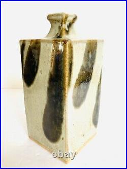 Beautiful Authentic Rare Shoji Hamada Nuka Glaze Square Sake Bottle 8.50