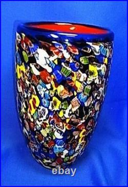 Beautiful Big Murano Milefiori Art Glass Vase 8 7/8 Rare #^