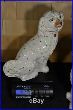 Beautiful Early Big Rare Antique Staffordshire Spaniel Dog's