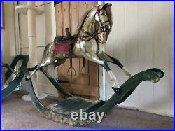 Beautiful Exquisite Rare Antique Bow Rocking Horse Extra Carved