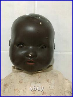 Beautiful Rare Antique Black'Dream Baby' Composite Doll Armand Marseille 1924