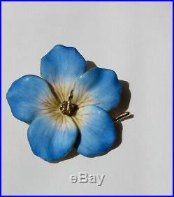 Beautiful & Rare Antique Enamel 14k Pansy Flower With Yellow Diamond