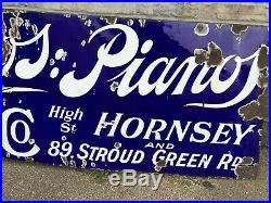 Beautiful Rare Antique Enamel Music Shop Sign