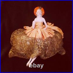 Beautiful Rare Antique German Porcelain Halfdoll Lady Orange Hat Arm Away