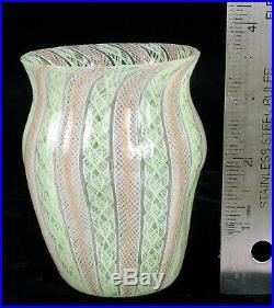 Beautiful Rare Antique Murano Art Glass Custom Latticino Fine Pink & Green Vase