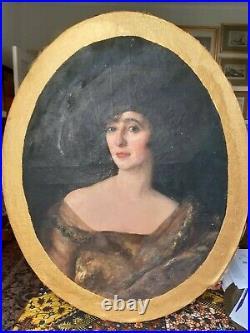 Beautiful Rare Antique Portrait From Imperial Russia, 78cm X 63cm