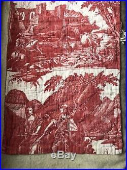 Beautiful Rare Antique c1800 Toile de jouy /Nantes Quilted Linen panel 100/47cms
