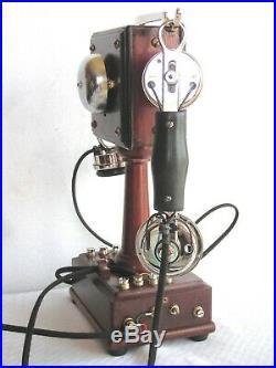 Beautiful Rare French Wood Desk Restored Antique Working Telephone Circa 1900