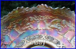 Beautiful Rare PETER RABBIT PATTERN Antique Fenton Carnival Glass Marigold Bowl