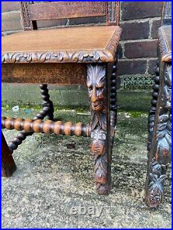 Beautiful Rare Pair Victorian Green Man Carved Oak Hall Chairs Antique