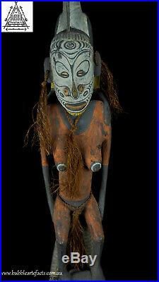 Beautiful Rare Vintage Carved Mens House Gable Finial, Papua New Guinea, PNG