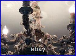 Beautiful Vintage Antique Capodimonte 6 Branch Chandelier Italian Porcelain Rare