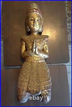 Beautiful Vintage Wooden Temple Buddha peacefully smiling praying rare buddhist