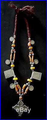 Beautiful silver berber necklace with rare kitab talisman, genuine coral, amber