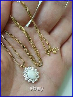 Beaverbrooks 9ct Gold Fire Opal Pendant On Necklace 375 Rare Antique Beautiful